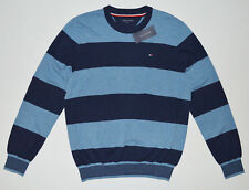 NWT Men's TOMMY HILFIGER Pullover Crew Neck Sweater Blue XL XLarge 100% Cotton