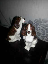 Q QUAIL POTTERY SPANIEL DOG FIGURE CRUET SET IN MINT UNUSED CONDITION