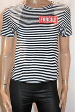 ZARA TRAFALUC Brand Black White Stripe Fragile Print Tee Top Size M BNWT #TR106