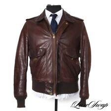 Vintage Schott Made in USA IS-674-MS Roughed Brown Leather Flight Jacket Coat 40