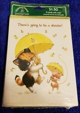 12 Ruth Morehead Vintage Bridal Shower Invitation Greeting Cards w/ Cat & Mouse