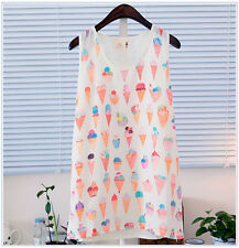 EXCLUSIVE Ice cream Top Chiffon Womens Solid Color Sleeveless T shirtl XS-S