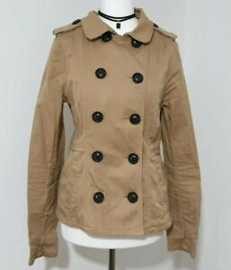 Ladies Brown Military Coat Jacket H&M Double Breasted Buttons Size UK-10 EU-38