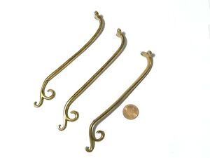 """3 Antique Individual Brass Hook Fittings UP-CYCLE Furnishings 6"""" long"""