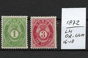 NORWAY @ 1872  Mi. 16,18 MLH  @ Nor. 46