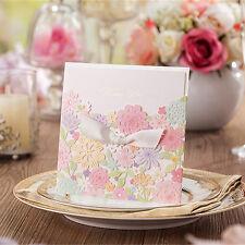 Personalised Laser Cut Colors Flower Wedding Invitation Card Favor Envelope H08