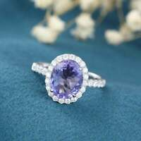4Ct Oval Cut Tanzanite Engagement Wedding Bridal Womens Ring 14K White Gold Over
