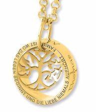Kette mit Lebensbaum vergoldet, Familiennkette gold, Ring mit Gravur, Anhänger