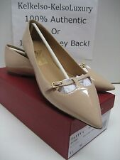 $475 NEW Salvatore Ferragamo US 11 Patty Beige Leather Pumps Flats Shoes BOX