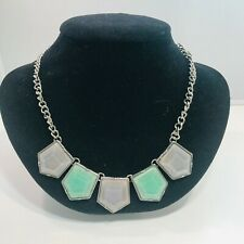 Bib Necklace Nice Colors! Charming Charlie Green Silver Tone