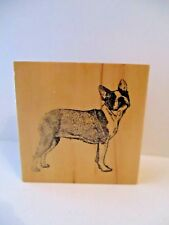 Rubber Stamps boston terrier Wood Mounted FREE SHIP puppy stamp Gallery dog