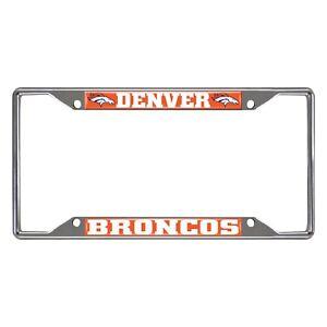 Fanmats NFL Denver Broncos Chrome Metal License Plate Frame Delivery 2-4 Days