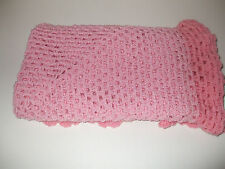HAND MADE CROCHET 36 X 36 INCH BABY BLANKET IN PINK, PRAM COT MOSES BASKET SHAWL