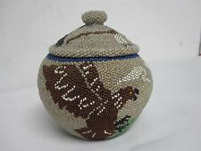 ANTIQUE NATIVE AMERICAN PAIUTE INDIAN BEADED BASKET w EAGLE RABBIT WARRIOR 5""