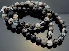 "Natural Botswana Agate 6mm Smooth Round Black Banded Gemstone Beads Strand 16"""