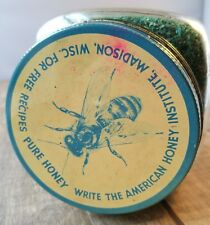 Antique Advertising 1940s Hoosier Glass Bee Canister Jar American Pure Honey