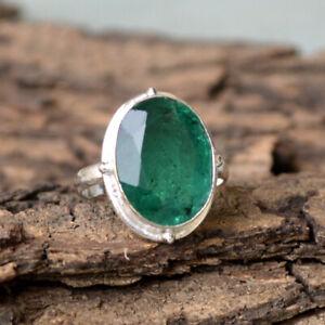 Rich Green Emerald Gemstone 925 Sterling Silver Handmade Gift Ring Size 8