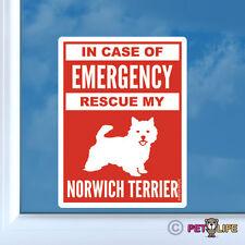 In Case of Emergency Rescue My Norwich Terrier Sticker Die Cut Vinyl - #2 safety