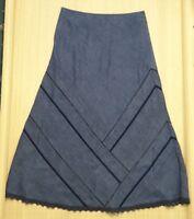 Marks and Spencer A Line  Skirt Denim Style Indigo Blue Cotton Size 10
