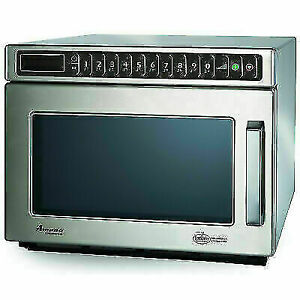 Commercial Microwave, 0.6 Cu. Ft., 1200 Watts, Push Buttons, Stainless Steel,
