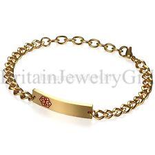 Men Women  Medical Alert ID Stainless Steel Wrist Link Bracelet Free Engraving