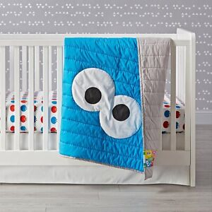 NEW Sesame Street Cookie Monster Crib Quilt The Land of Nod Crate & Barrel Kids