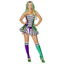 Mardi Gras Costume Adult Sexy Jester Harlequin Halloween Fancy Dress