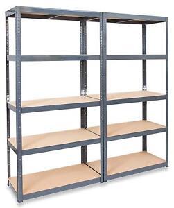 3 x Heavy Duty Boltless Shelving Units GREY 150cm Tall Garage Shop Storage Retai