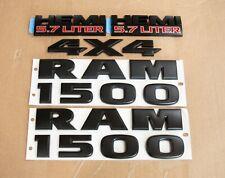 5pcs Dodge Ram 1500 Hemi5.7 4x4 Matte Black Emblem Badge Nameplate Oem