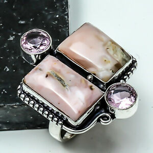 Luxurious Pink Opal, Pink Amethyst Handmade Jewelry Ring Size 8.75 LL