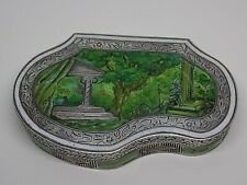 EXQUISITE RARE ANTIQUE ENAMELED SOLID SILVER BOX. TRINKET/PILL/SNUFF. (NCB)