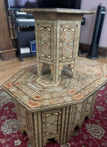 Egyptian Moroccan Style Coffee And End Table Beech wood Inlaid Mother of Pearl