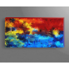 Brushstroke Painting of Yellow Red and Blue Colors 12x24 Canvas Wrap Wood Frame