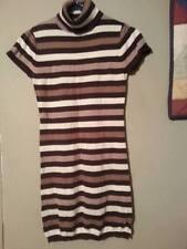 Catch My I Brown-White-Beige Turtleneck Sweater Dress Size-S