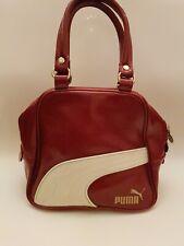 Ladies Retro Small PUMA Bag Sports Handbag Burgundy