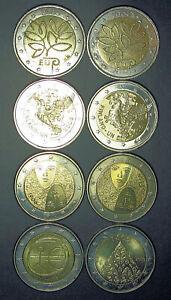 2 X 2004,2005,2006,2009 FINLANDE 2 euro COMMEMORATIVE total 8pieces circulated