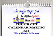 A4 Bianco Calendario rendendo KIT qualsiasi anno Portrait 200g BIANCO STAFFA & vincolante PETTINI