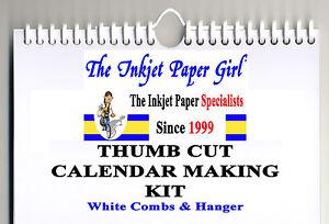 A4 Blank Calendar Making Kit Any Year Portrait 200g White Hanger & Binding Combs