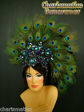 PEACOCK GREEN  FANCY Drag CARNIVAL Feather Headdress