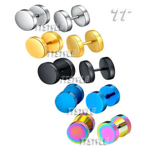 TT Surgical Steel Round Fake Ear Plug Earrings Size 3mm-10mm 5 Colour (BE91)Pair
