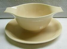 Homer Laughlin Jubilee Cream Beige Gravy Boat with Attached Underplate 1948 VTG