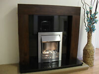 ELECTRIC BROWN BLACK GRANITE SILVER WALL FIRE SURROUND MODERN FIREPLACE SUITE 48