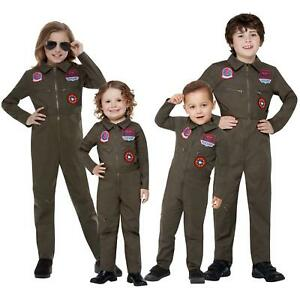 Kids Official Top Gun 80s Pilot Jumpsuit Fancy Dress Costume Boys Girls Toddlers