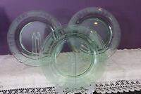 "SET OF 3 GREEN GLASS ETCHED 8-5/8"" LUNCHEON PLATES - VERY ORNATE"