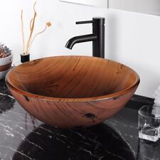 Bathroom Tempered Glass Round Vessel Sink Wood Grain Vanity Hotel Bowl Basin