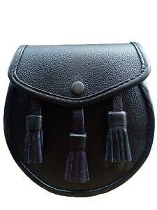 3 Tassels Scottish Kilt Sporran, Fine Quality Black Cowhide Real Leather + Belt