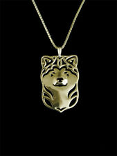 Akita Dog Pendant Necklace Gold Tone Animal Rescue Donation