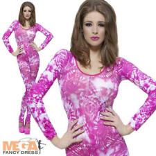 Pink Tie Dye Bodysuit Ladies Animal Catsuit Fancy Dress Costume Outfit UK 6-14