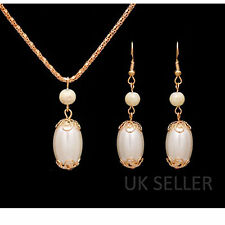 Wedding/Party/Bridal Gold Filled Pearl Jewellery Necklace Earring Set-UK Seller