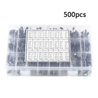 500Pcs 24 Values Aluminum Electrolytic Capacitor Kit 10V~50V 0.1uF~1000uF de wr